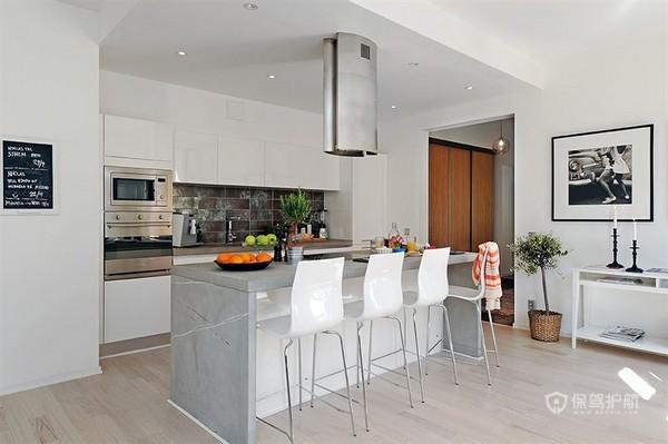 白色北欧风二居室厨房吧台装修效果图