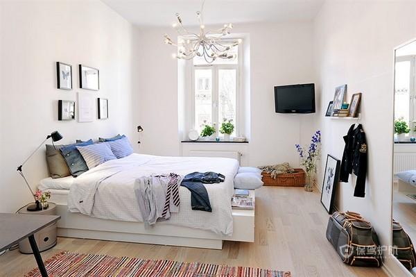 80平白色北欧风两居室卧室背景墙装修效果图