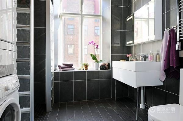 白色北欧风二居室黑色卫生间瓷砖装修效果图