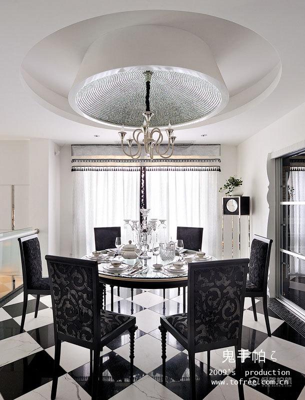 优雅精致新古典别墅餐厅吊顶装修效果图