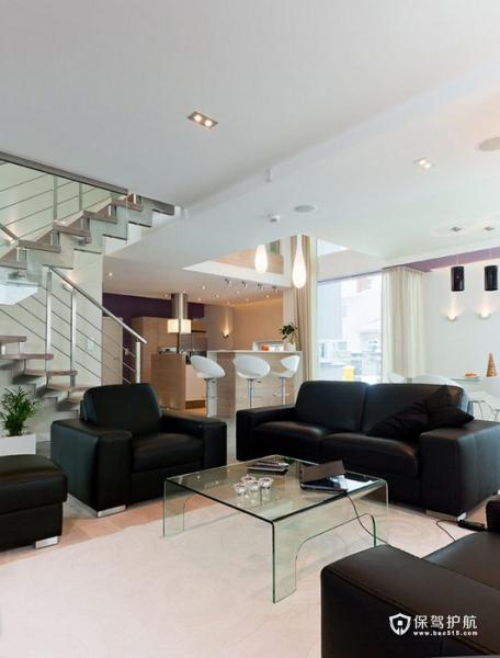 生机勃勃 色彩明亮跃层富裕装修 跃层装修,富裕型装修,简约风格,客厅,沙发,茶几,灯具