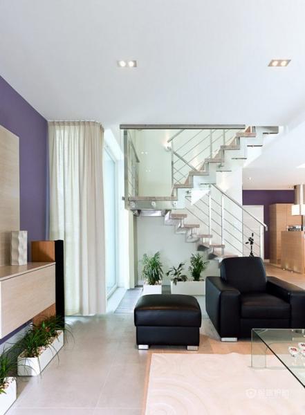 生机勃勃 色彩明亮跃层富裕装修 跃层装修,富裕型装修,简约风格,客厅,沙发,茶几