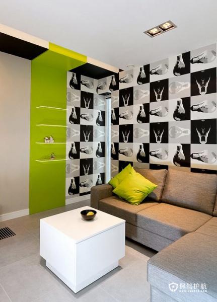 生机勃勃 色彩明亮跃层富裕装修 跃层装修,富裕型装修,简约风格,客厅,沙发,茶几,壁纸,灯具