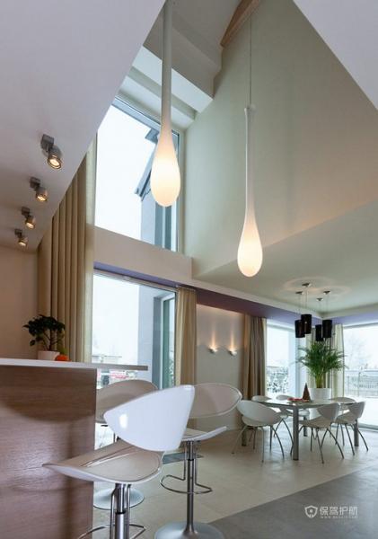 生机勃勃 色彩明亮跃层富裕装修 跃层装修,富裕型装修,简约风格,餐厅,灯具,餐桌,窗帘