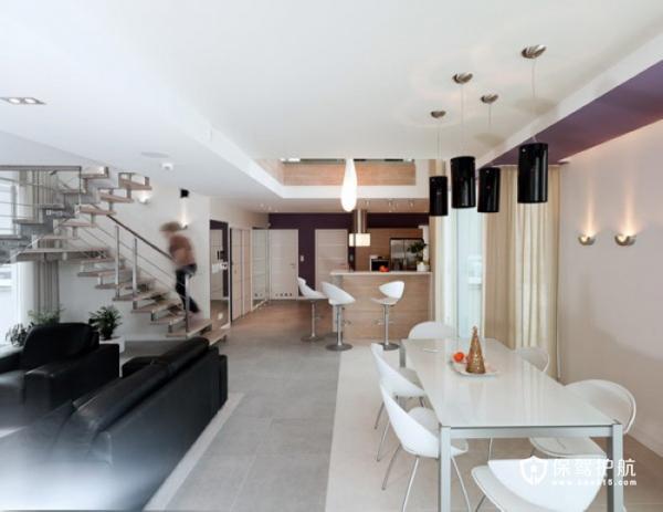 生机勃勃 色彩明亮跃层富裕装修 跃层装修,富裕型装修,简约风格,餐厅,灯具,餐桌
