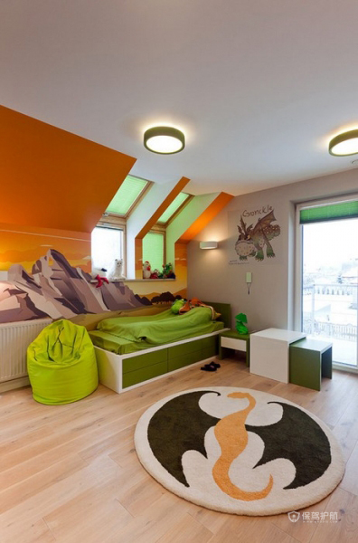 生机勃勃 色彩明亮跃层富裕装修 跃层装修,富裕型装修,简约风格,卧室,床,床头柜,灯具