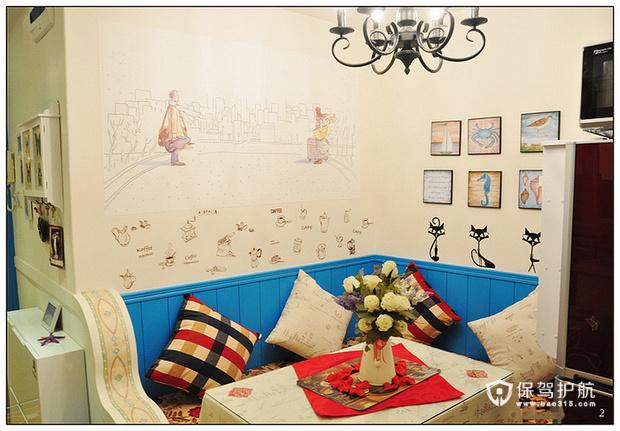 50平清凉蓝色家 地中海式风格装