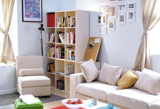 宜家简约风格两室一厅小户型20平米客厅书架效果图