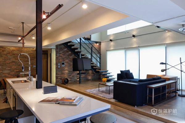 台湾温馨三口之家 超现代LOFT loft风格,跃层装修,富裕型装修,简约风格,台湾家居,客厅,吊顶
