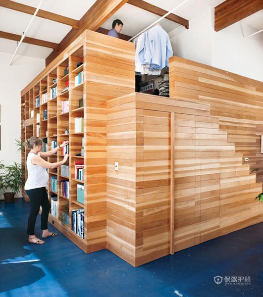 简约风格四室两厅客厅实木书架创意装修效果图