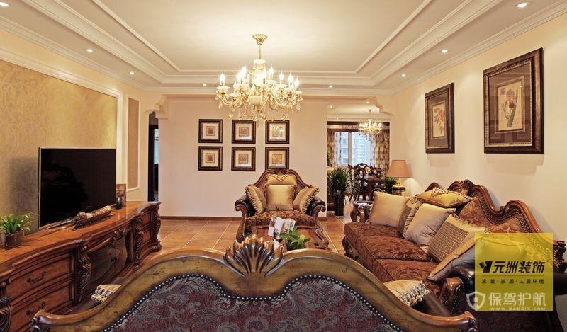 110平优雅美式乡村三居室客厅壮戏效果图
