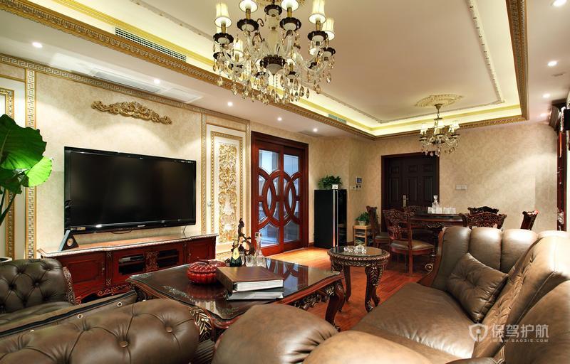140平美式乡村四居室客厅电视背景墙装修效果图