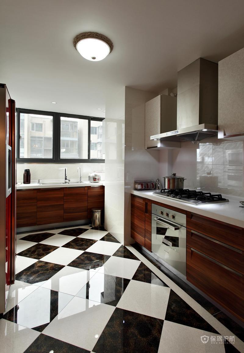 140平美式乡村四居室厨房地面装修效果图