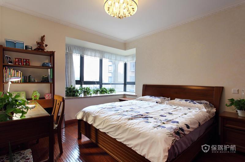 140平美式乡村四居室卧室飘窗装修效果图