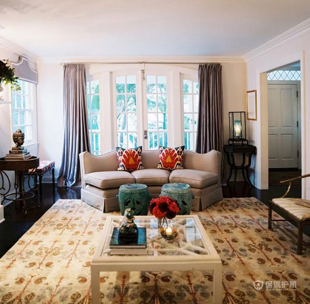 美式别墅客厅沙发搭配装修效果图