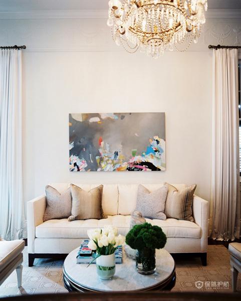120平美式二居室客厅沙发搭配装修效果图