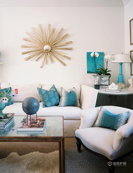 135平美式三室客厅背景墙装修效果图