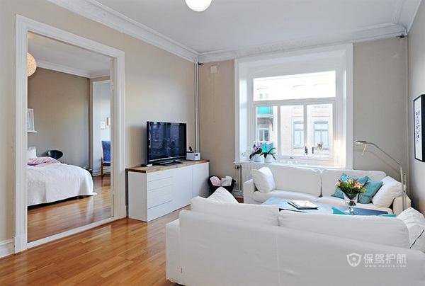 70平北欧风一居室单身公寓客厅装修效果图