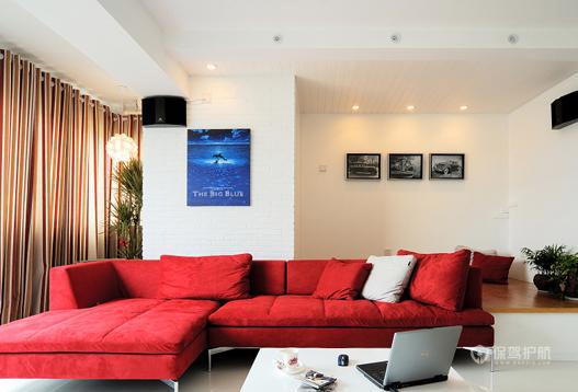 110平时尚简约公寓客厅沙发装修效果图
