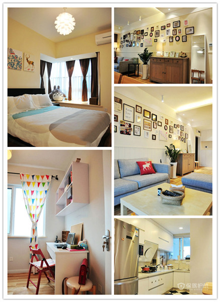 原木家具照片墙 54平宜家风二居室