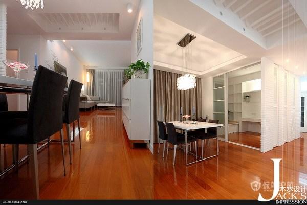 简约风格三室一厅公寓40平客厅实木地板铺设效果图