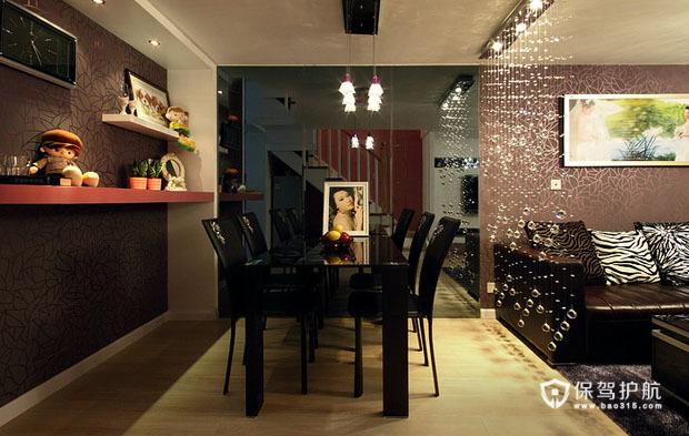 黑色沉稳大气宅 精致loft婚房 婚房装修,一居室装修,90平米装修,富裕型装修,混搭风格,餐厅,餐桌,隔断