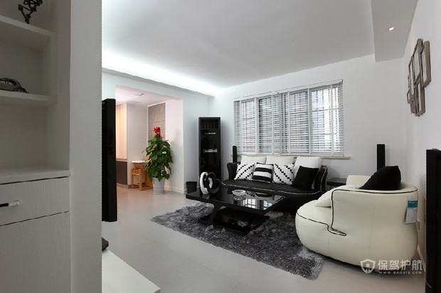 黑白简约客厅装 简约生活二居室 二居室装修,90平米装修,富裕型装修,简约风格,客厅,沙发,茶几,吊顶,简洁,黑白
