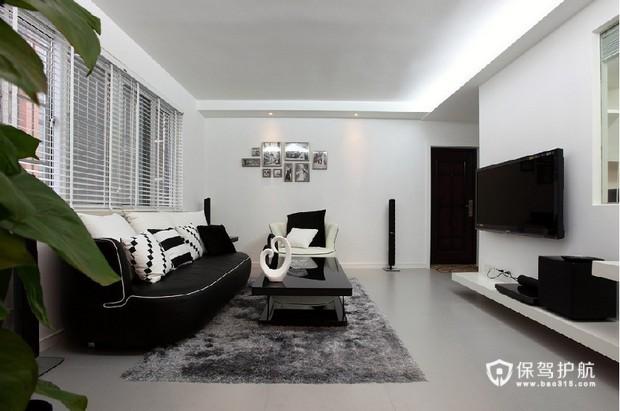 黑白简约客厅装 简约生活二居室 二居室装修,90平米装修,富裕型装修,简约风格,客厅,沙发,茶几,电视柜,吊顶,黑白,简洁
