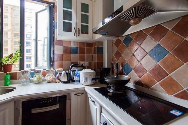 復古田園風格兩室一廳小戶型5平米廚…