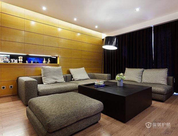 25万100平简约三居室客厅沙发背景墙装修效果图