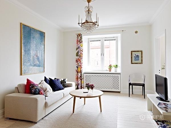 60平简洁北欧一居室客厅地板装修效果图