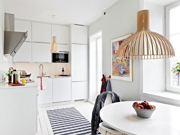 60平简洁北欧家开放式厨房装修效果图