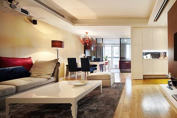 90平简约风格二居室客厅地板装修效果图