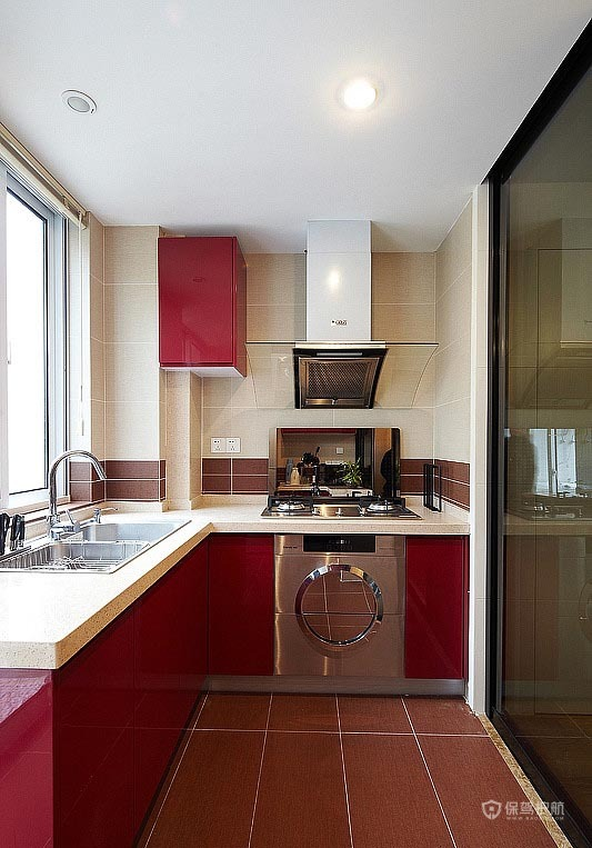 90平简约风格二居室厨房整体橱柜装修效果图
