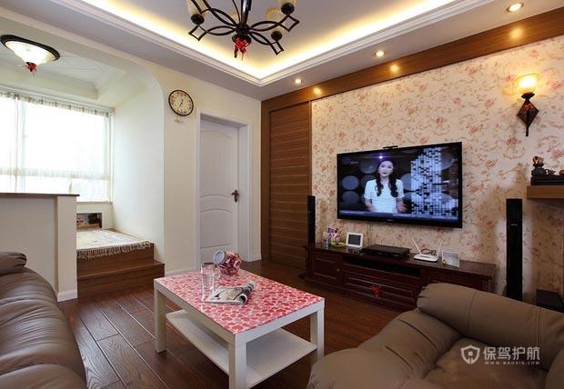 90平美式混搭一居室客厅电视背景墙装修效果图