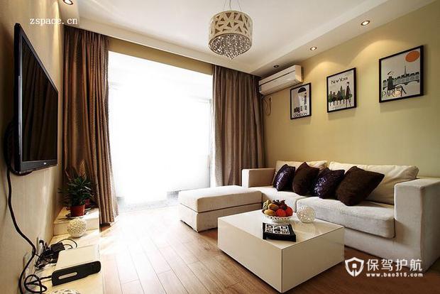 现代简约二居室 温润轻盈生活 二居室装修,70平米装修,富裕型装修,简约风格,客厅,沙发,茶几,装饰画,吊顶