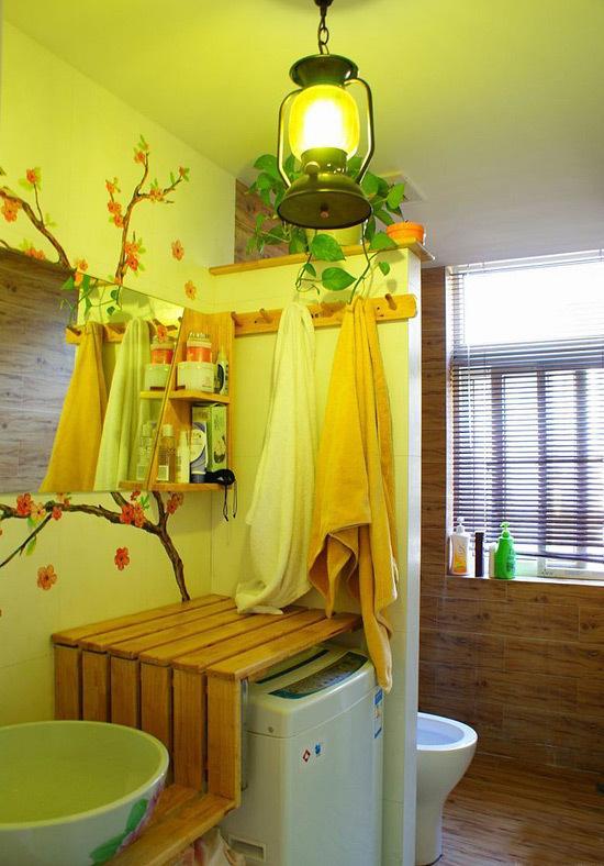 日式風格公寓40平衛生間壁畫效果圖