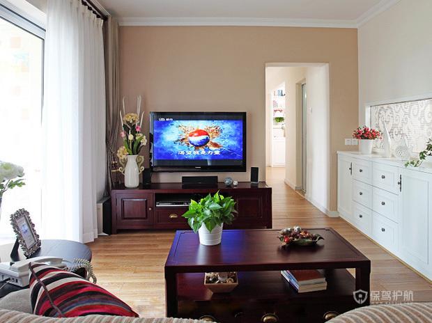中式风格三室两厅经济型户型20平米客厅软装布置效果图
