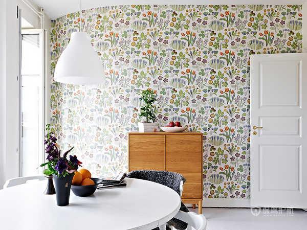 86平简欧风格公寓餐厅壁纸装修效果图