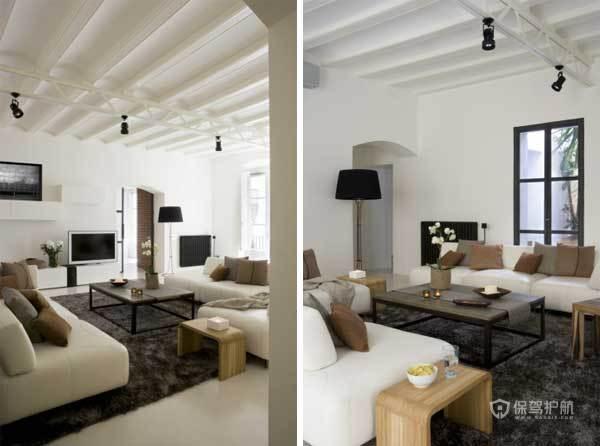130平西班牙现代混搭公寓客厅吊顶装修效果图