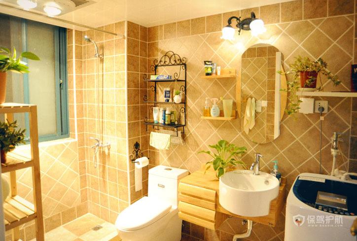 田园风三居室卫生间瓷砖装修效果图