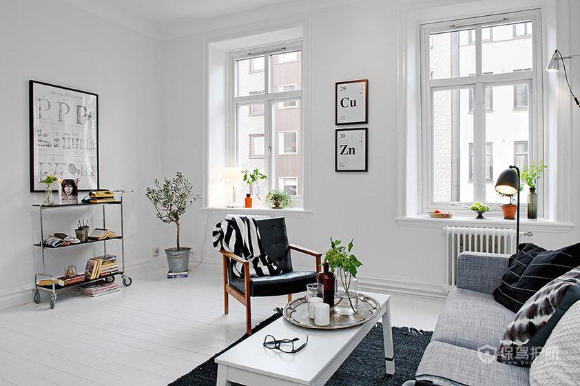 白色简欧风公寓客厅装修效果图