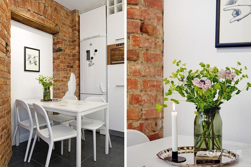 自然简欧风公寓小餐厅背景墙装修效果图