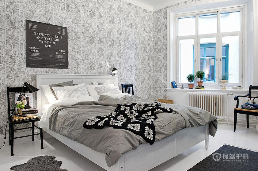 灰色简欧风公寓卧室装修效果图