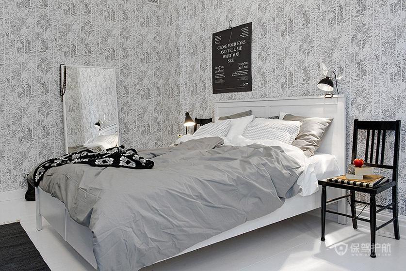 灰色简欧风公寓卧室墙面装修效果图