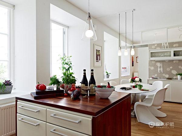 80平简欧风公寓开放式厨房餐厅装修效果图
