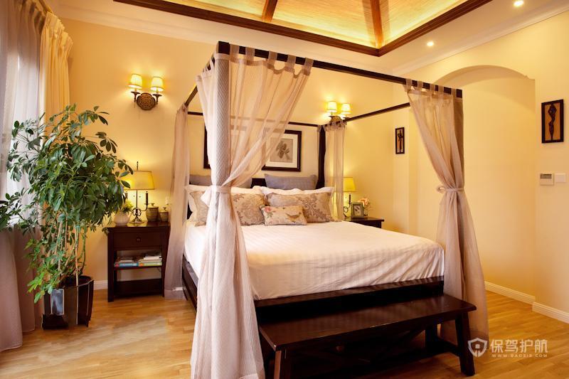 泰式混搭度假风公寓卧室装修效果图
