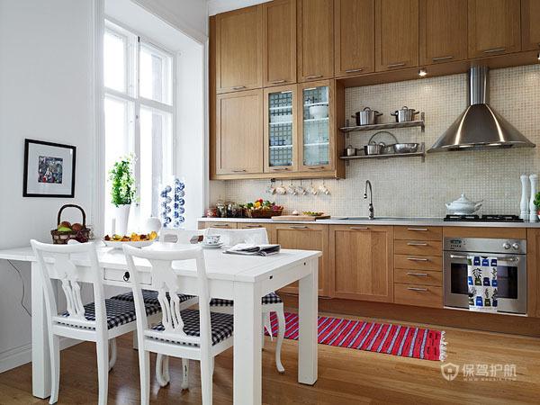 简欧风明亮二居室公寓餐厅厨房装修效果图