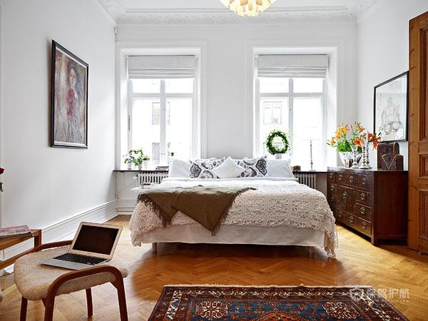 简欧风明亮二居室公寓卧室装修效果图