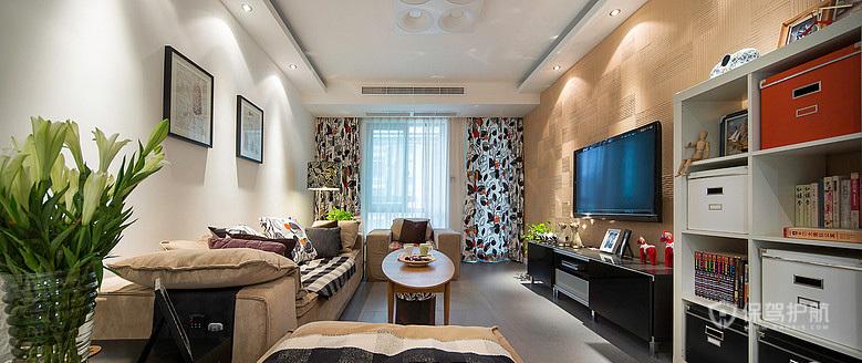 80平简约美式二居室客厅背景墙装修效果图